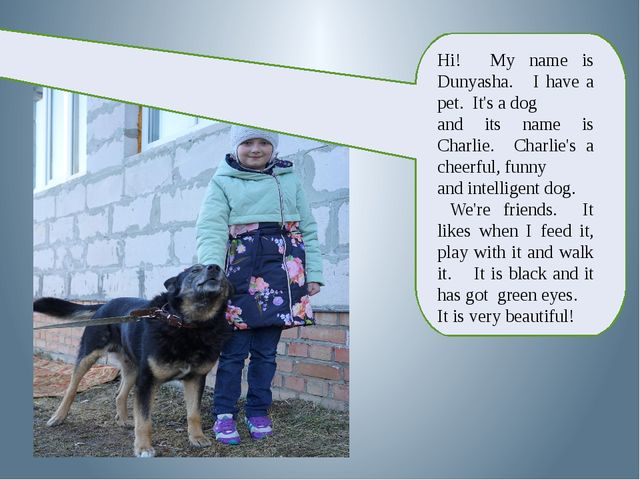 Hi! My name is Dunyasha. I have a pet. It's a dog and its name is Charlie. C...