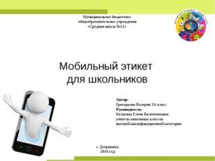 Муниципальное бюджетное общеобразовательное учреждение «Средняя школа №12» М
