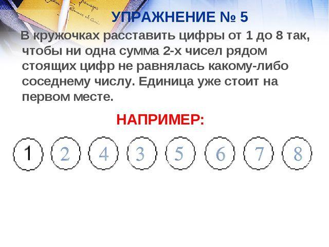 УПРАЖНЕНИЕ № 5 В кружочках расставить цифры от 1 до 8 так, чтобы ни одна сумм...