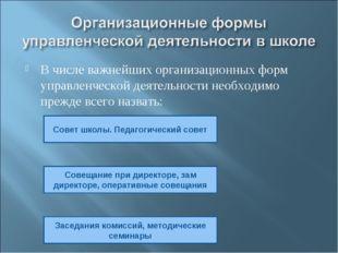 В числе важнейших организационных форм управленческой деятельности необходимо