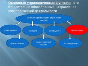 Основные управленческие функции- это относительно обособленные направления у
