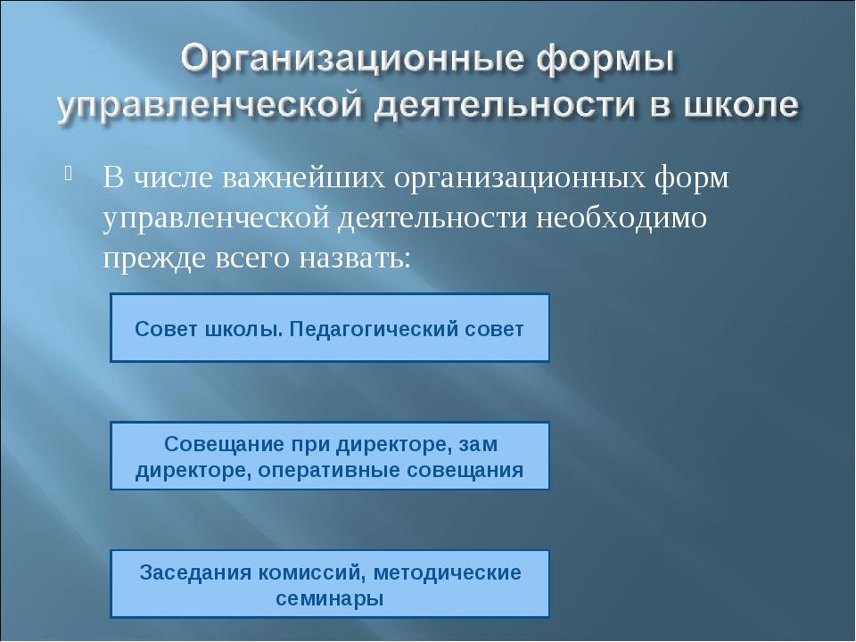 В числе важнейших организационных форм управленческой деятельности необходимо...