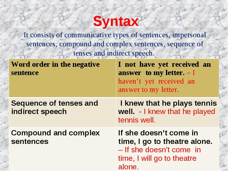 It consists of communicative types of sentences, impersonal sentences, compou...