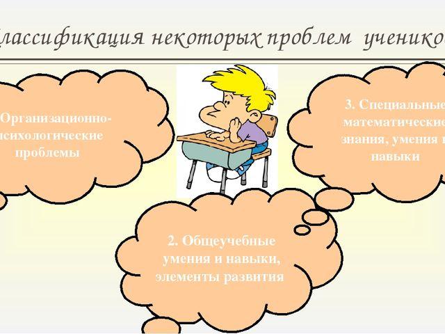 Классификация некоторых проблем учеников 5 класса 1. Организационно-психологи...
