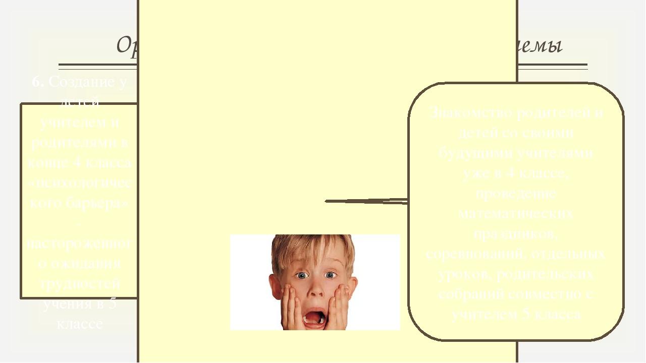 Организационно-психологические проблемы 6. Создание у детей учителем и родите...