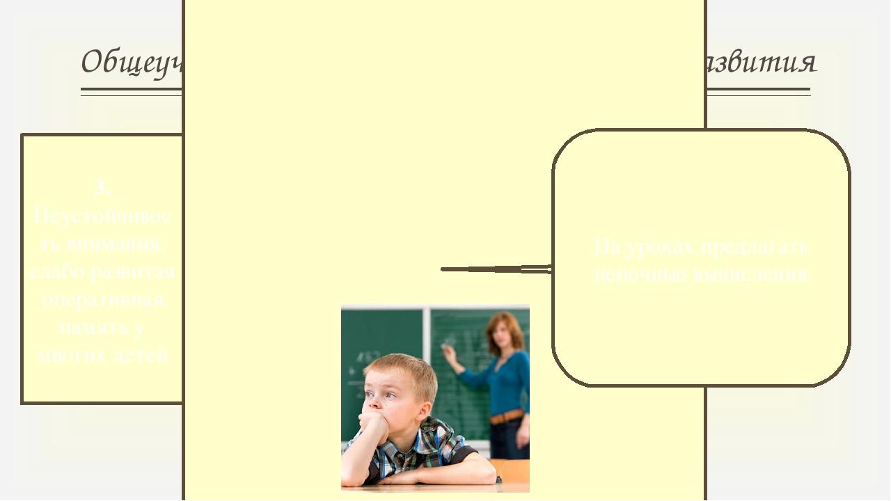 Общеучебные умения и навыки, элементы развития 3. Неустойчивость внимания, сл...