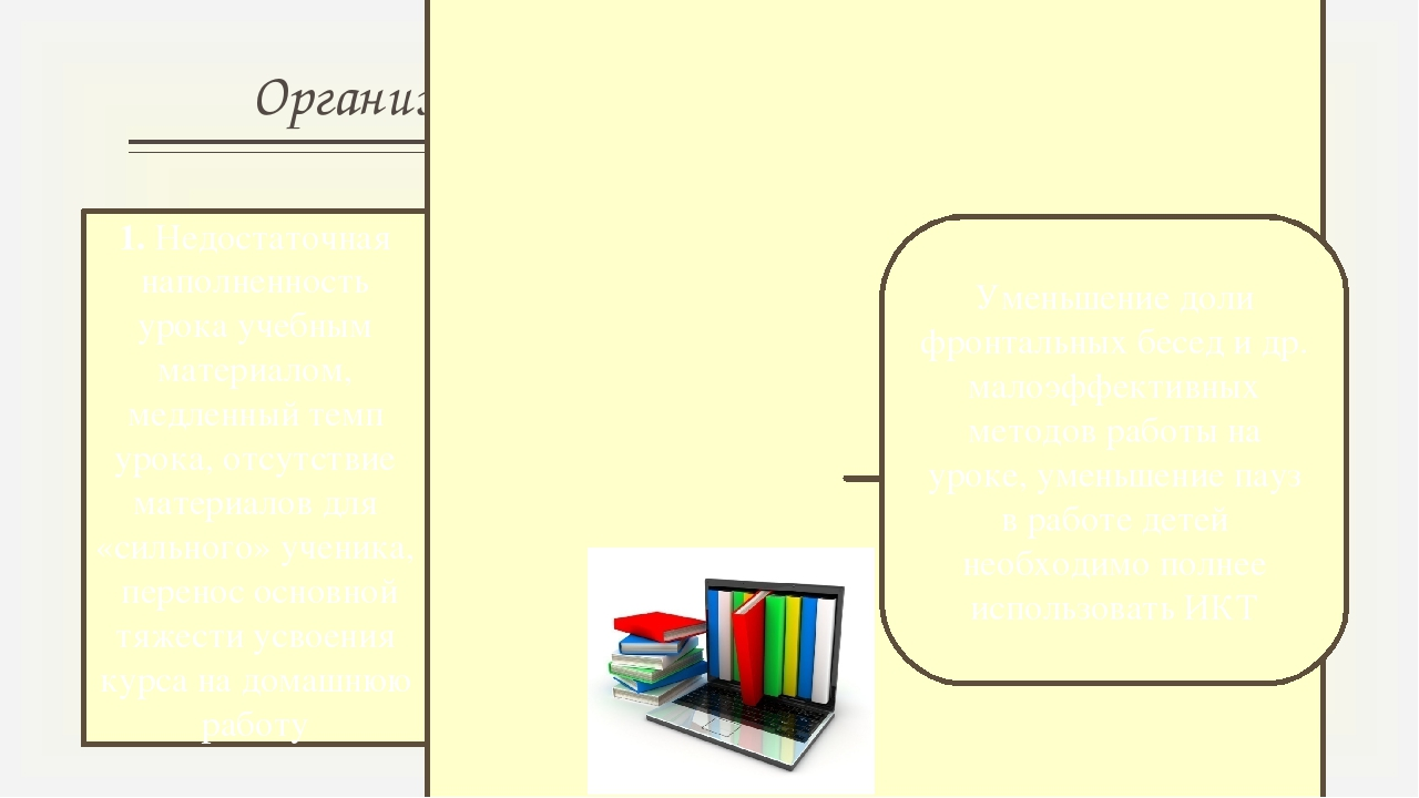 Организационно-психологические проблемы 1. Недостаточная наполненность урока...