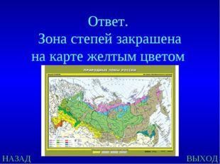 НАЗАД ВЫХОД Ответ. Зона степей закрашена на карте желтым цветом