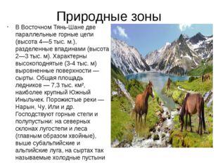 Природные зоны В Восточном Тянь-Шане две параллельные горные цепи (высота 4—5