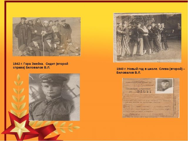 1940 г. Новый год в школе. Слева (второй) – Беловалов В.Л. 1942 г. Гора Змей...
