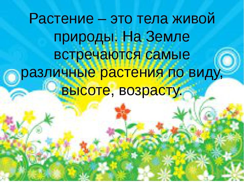 Растение – это тела живой природы. На Земле встречаются самые различные расте...
