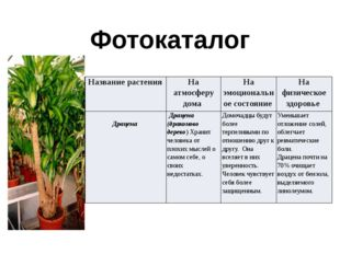 Фотокаталог Название растения На атмосферу дома На эмоциональное состояние На