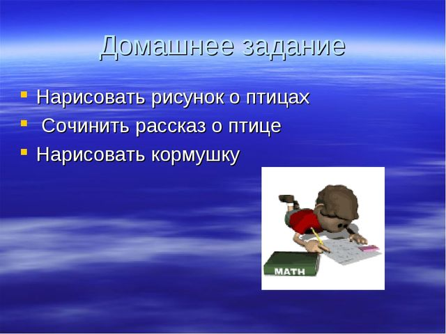 Домашнее задание Нарисовать рисунок о птицах Сочинить рассказ о птице Нарисов...