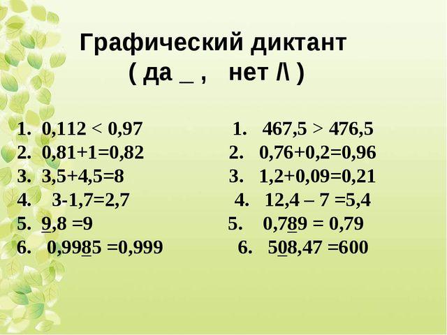 Графический диктант ( да _ , нет /\ ) 0,112 < 0,97 1. 467,5 > 476,5 0,81+1=0,...