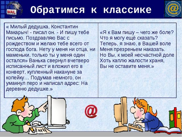 Обратимся к классике « Милый дедушка, Константин Макарыч! - писал он. - И пиш...