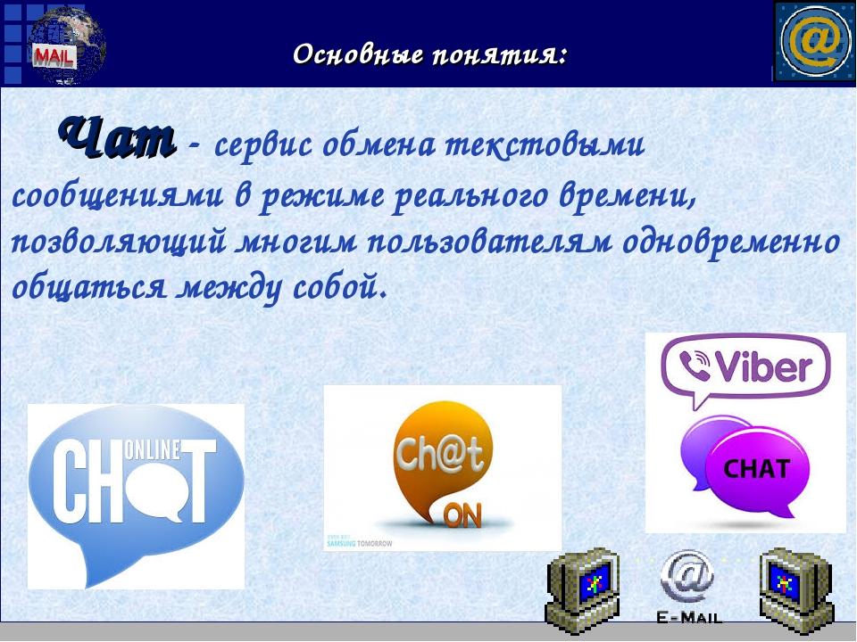 Основные понятия: Чат- сервис обмена текстовыми сообщениями в режиме реально...