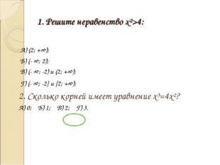 1. Решите неравенство x²>4: А) (2; +∞); Б) (- ∞; 2); В) (- ∞; -2) и (2; +∞);