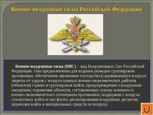 Военно-воздушные силы Российской Федерации Военно-воздушные силы (ВВС) – вид