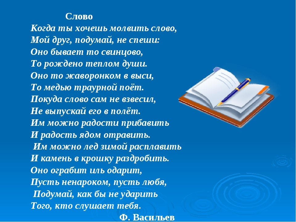 Слово Когда ты хочешь молвить слово, Мой друг, подумай, не спеши: Оно бывает...