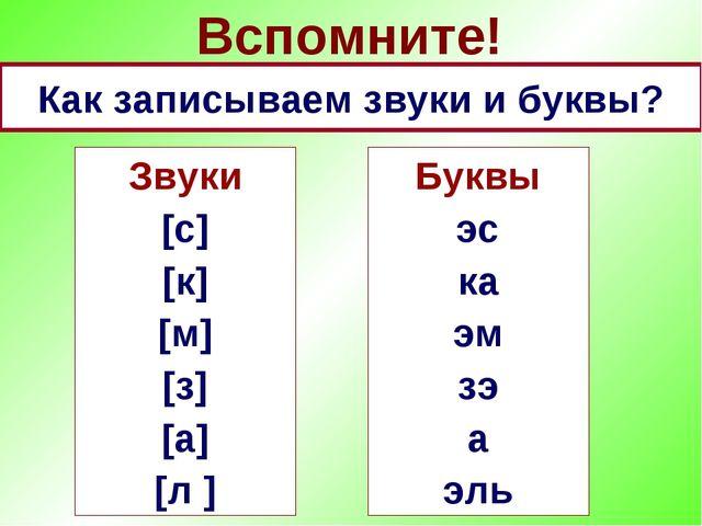 Вспомните! Как записываем звуки и буквы? Буквы эс ка эм зэ а эль Звуки [с] [к...