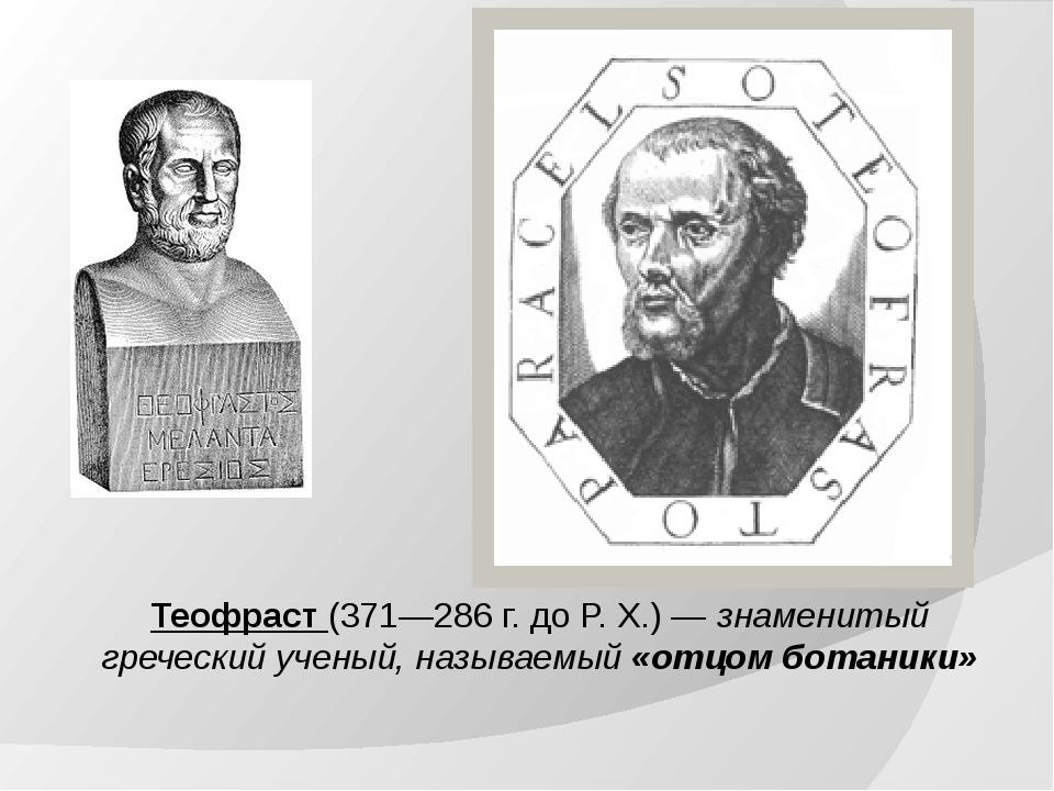 Теофраст (371—286 г. до Р. Х.) — знаменитый греческий ученый, называемый «отц...