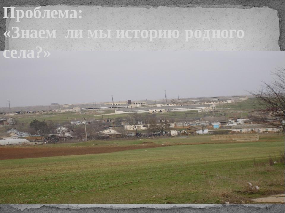 Проблема: «Знаем ли мы историю родного села?»