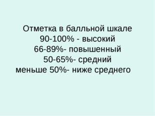 Отметка в балльной шкале 90-100% - высокий 66-89%- повышенный 50-65%- средний