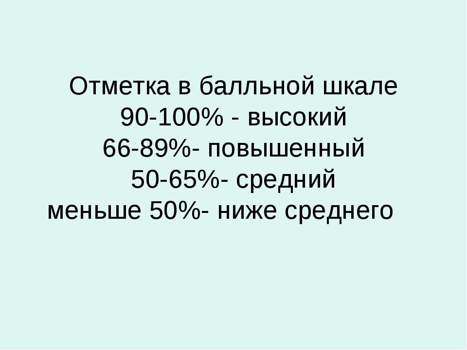 Отметка в балльной шкале 90-100% - высокий 66-89%- повышенный 50-65%- средний...
