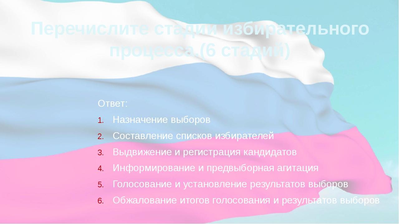 Перечислите стадии избирательного процесса.(6 стадий) Ответ: Назначение выбор...