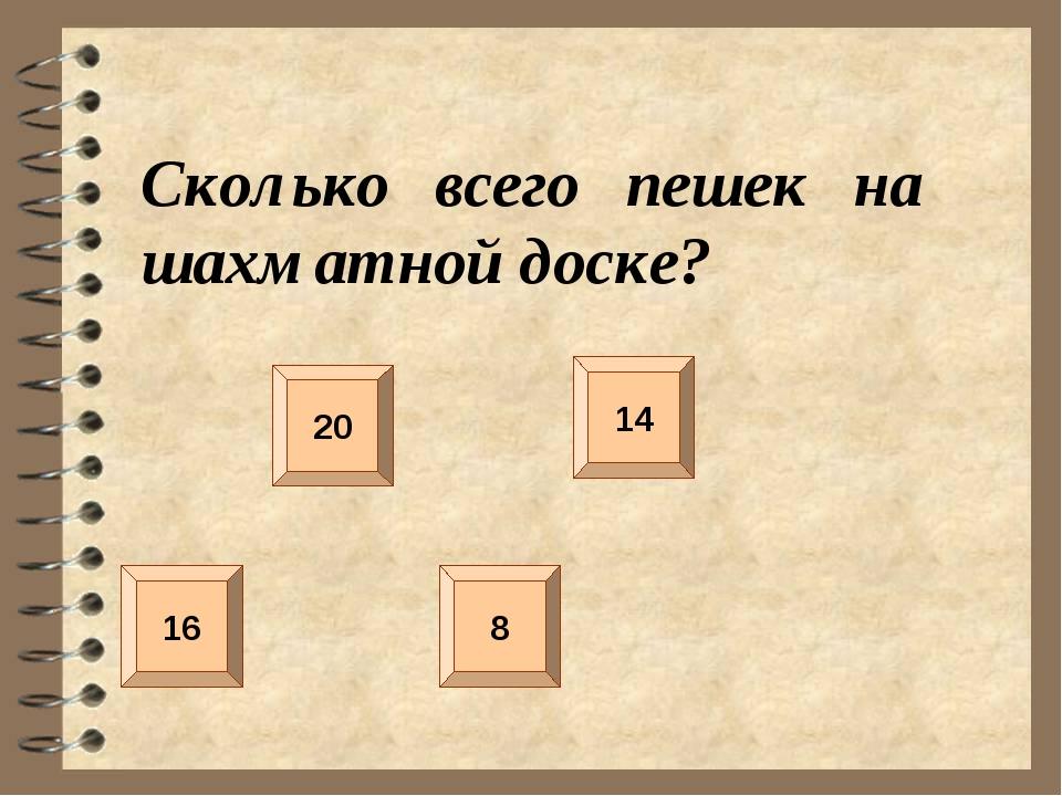 Сколько всего пешек на шахматной доске? 20 16 14 8
