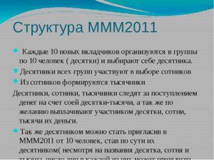 Структура МММ2011 Каждые 10 новых вкладчиков организуются в группы по 10 чело