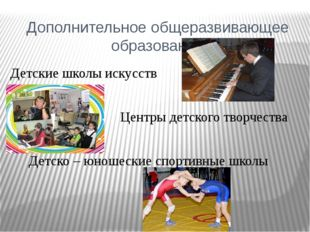 Дополнительное общеразвивающее образование Детские школы искусств Детско – юн