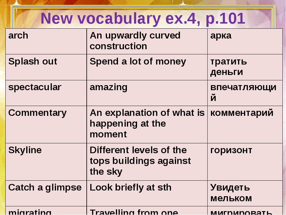 New vocabulary ex.4, p.101 arch	An upwardly curved construction	арка Splash o...