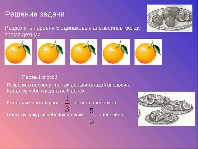 Решение задачи Разделить поровну 5 одинаковых апельсинов между тремя детьми....