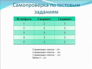 5 правильных ответов – «5» 4 правильных ответов – «4» 3 правильных ответов –