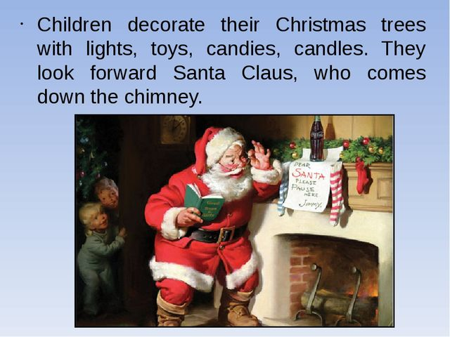 Children decorate their Christmas trees with lights, toys, candies, candles....