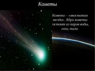 Кометы Комета – «хвостатая звезда». Ядро кометы состоит из паров воды, газа,