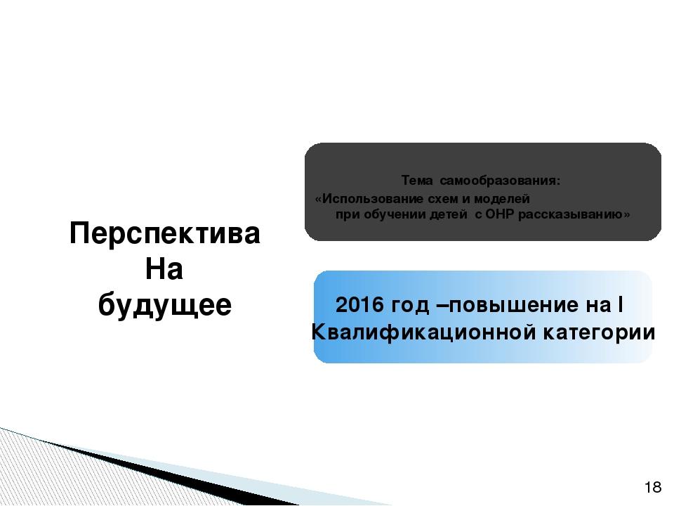 2016 год –повышение на I Квалификационной категории Тема самообразования: «И...