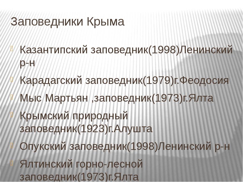 Заповедники Крыма Казантипский заповедник(1998)Ленинский р-н Карадагский запо...
