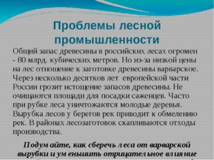 Проблемы лесной промышленности Общий запас древесины в российских лесах огром