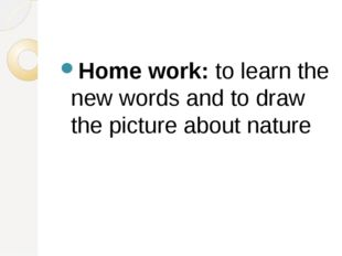 Home work: to learn the new words and to draw the picture about nature