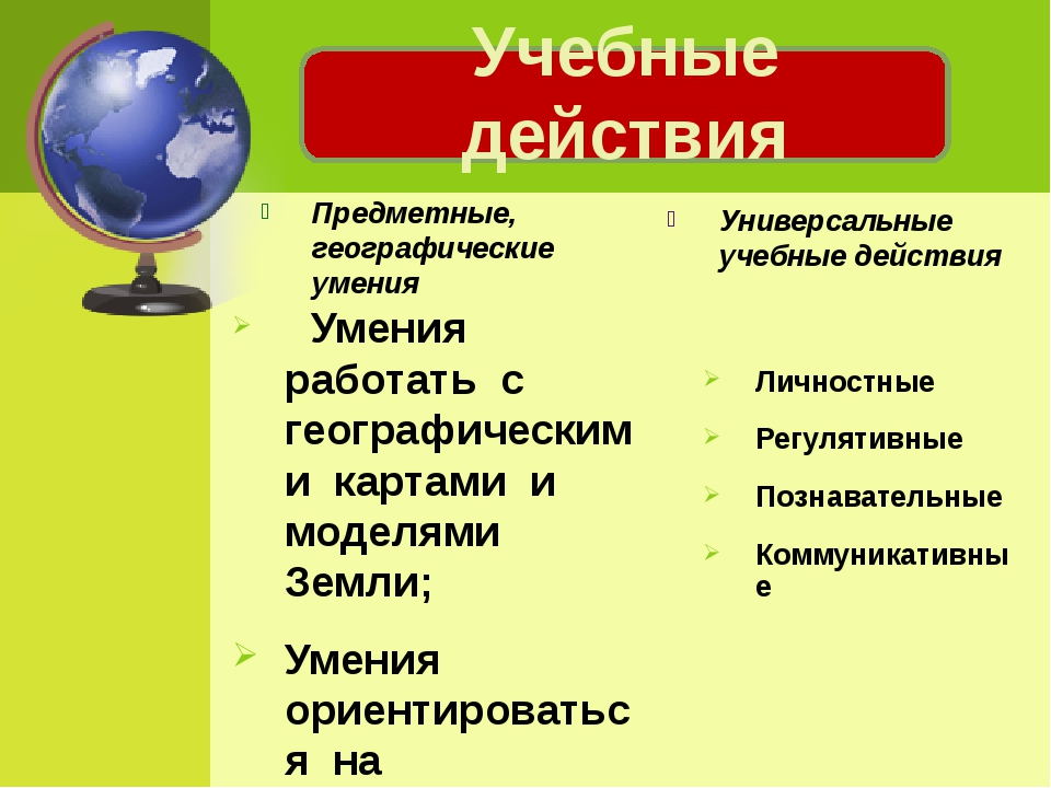Предметные, географические умения  Умения работать с географическими карт...