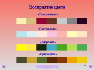 * Восприятие цвета «Престижные» «Пастельные» «Здоровые» «Природные» Справка Н