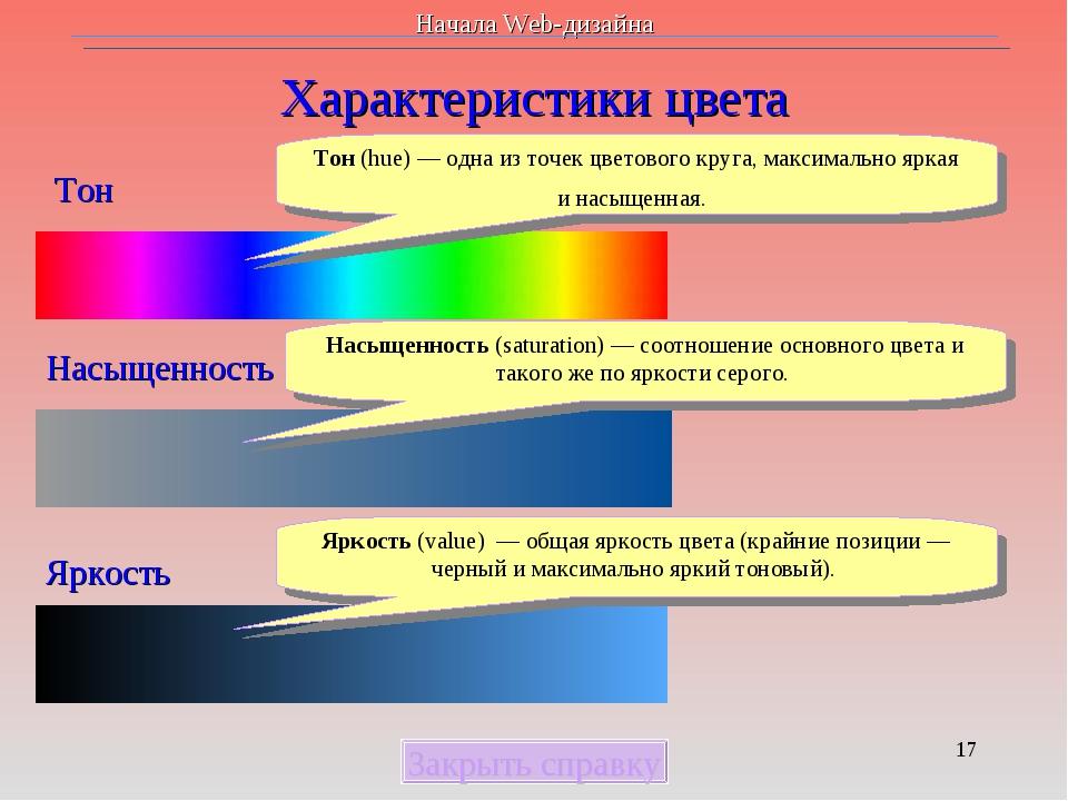 * Характеристики цвета Закрыть справку Тон Насыщенность Яркость Тон (hue)— о...