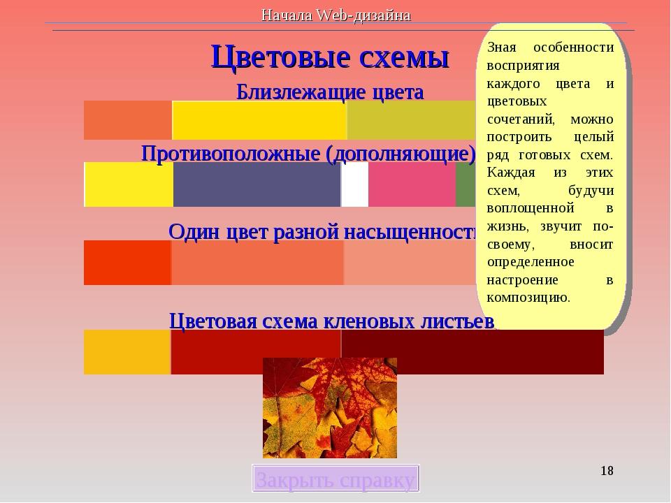 * Цветовые схемы Близлежащие цвета Противоположные (дополняющие) цвета Один ц...