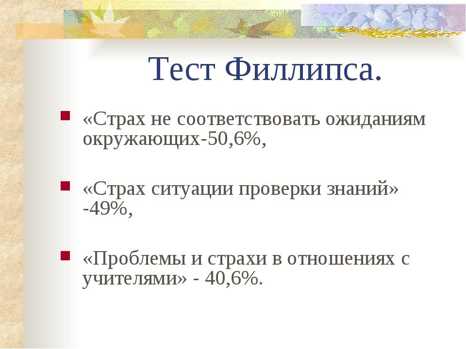 Тест Филлипса. «Страх не соответствовать ожиданиям окружающих-50,6%, «Страх...
