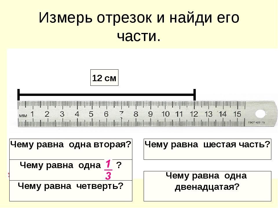 Измерь отрезок и найди его части. 12 см Чему равна одна вторая? Чему равна од...