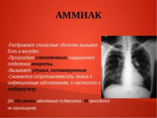 АММИАК -Раздражает слизистые оболочки вызывая боли в желудке. -Происходит сле