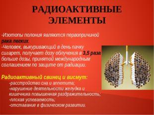 РАДИОАКТИВНЫЕ ЭЛЕМЕНТЫ -Изотопы полония являются первопричиной рака легких. -