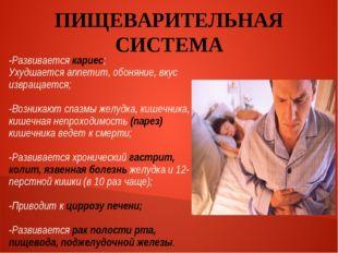 ПИЩЕВАРИТЕЛЬНАЯ СИСТЕМА -Развивается кариес; Ухудшается аппетит, обоняние, вк